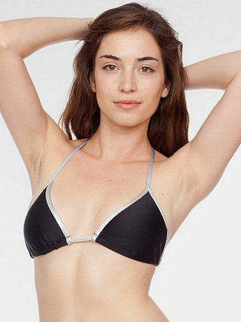Nylon Tricot Shiny Contrast Triangle Bikini Top