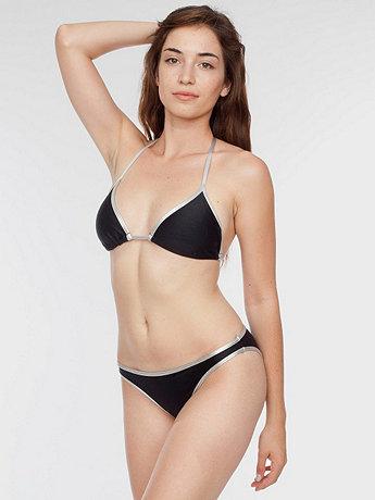 Nylon Tricot Contrast Swim Flat Bikini Bottom