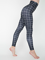 Grid Print Nylon Tricot High-Waist Leggings