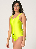Nylon Tricot Zipper-Front Bodysuit