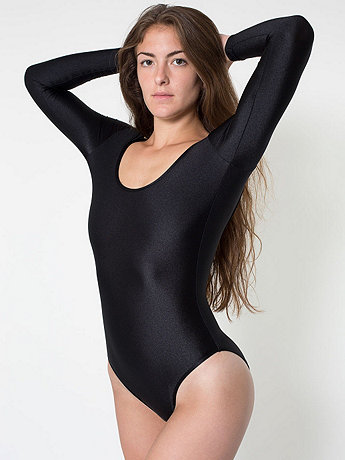 Nylon Tricot Double U-Neck Long Sleeve Bodysuit