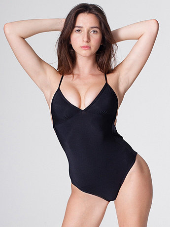 Nylon Tricot Triangle Top One-Piece Swimsuit