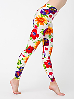 Floral Print Nylon Leggings