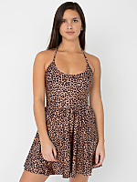 Shiny Peach Cheetah Nylon Tricot Figure Skater Dress