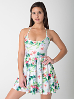 Flamingo Print Nylon Tricot Figure Skater Dress