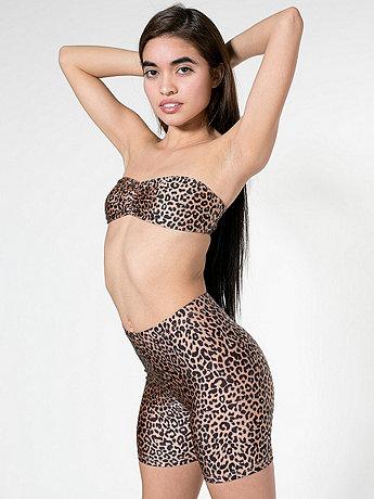 Shiny Cheetah Printed Nylon Tricot Cycle Short