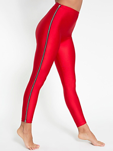Nylon Tricot High-Waist Zipper Legging
