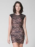Lace Print Sweetheart Two-Tone Mini Dress