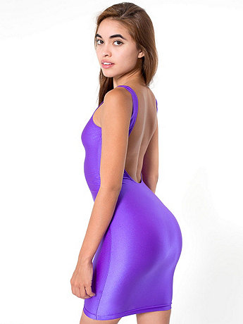 Nylon Tricot Scoop Back Tank Pencil Dress
