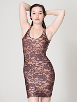 Lace Print Nylon Tricot Scoop Back Dress