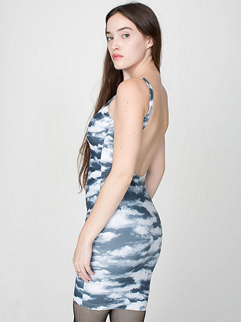 Cloud Print Nylon Tricot Scoop Back Dress