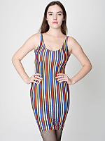 Stripe Tricot Scoop Back Tank Dress