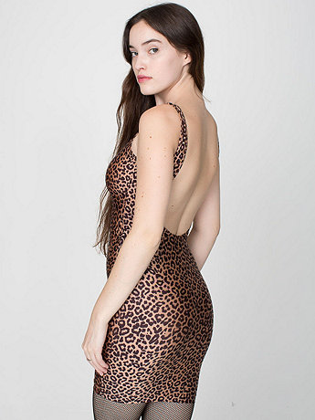 Cheetah Print Nylon Tricot Scoop Back Dress