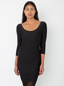 Nylon Tricot Double U-Neck 3/4 Sleeve Mini Dress