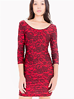Lace Print Nylon Tricot 3/4 Sleeve Dress