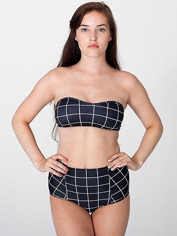 Grid Print Nylon Tricot High-Waist Swim Brief