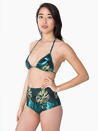 Print Nylon Tricot High-Waist Swim Brief