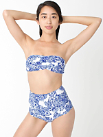 Floral Print Nylon Tricot High-Waist Swim Brief