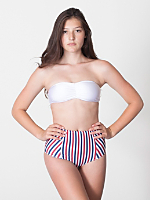 Stripe Print Nylon Tricot High-Waist Swim Brief