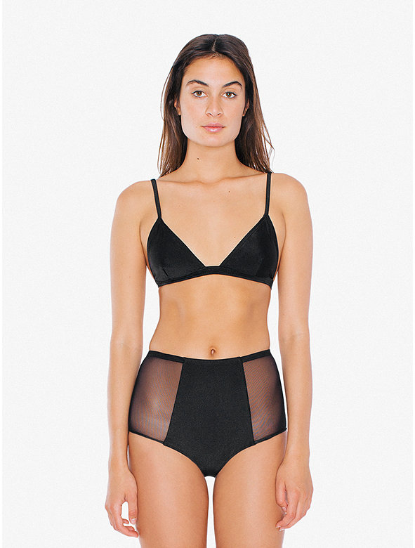 Mesh Side High-Waist Bikini Bottom
