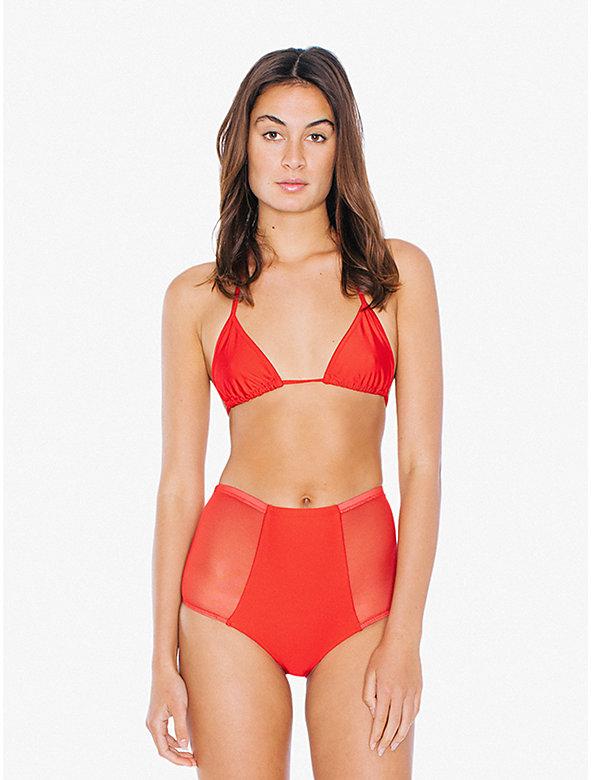 Mesh Side High-Waist Bikini Bottom