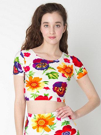 Floral Print Short Sleeve Crop Top