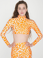 Giraffe Print Nylon Tricot Long Sleeve Crop Turtleneck
