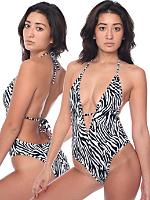 Zebra Print Maillot-V Swimsuit