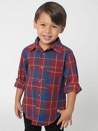 Kids' Long Sleeve Indigo Plaid Button-Up Shirt