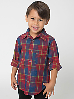Kids' Long Sleeve Indigo Plaid Button-Up Shirt
