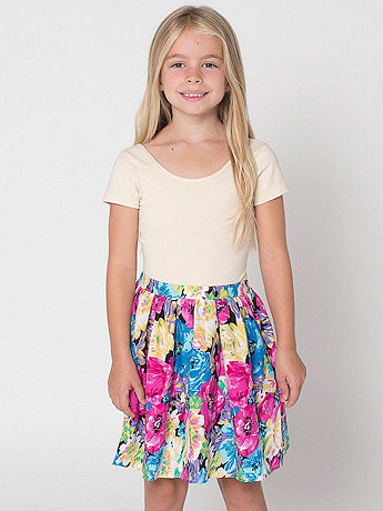 Floral Print Kids Full Woven Skirt