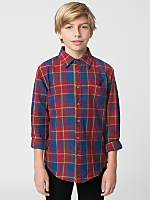 Youth Long Sleeve Indigo Plaid Button-Up Shirt