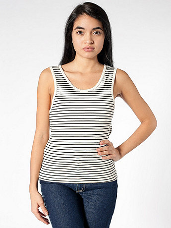 Stripe Double U-Neck Tank Top