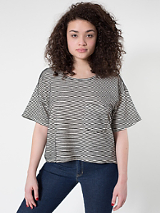 Stripe Light Ottoman Rib Mid-Length Pocket Tee