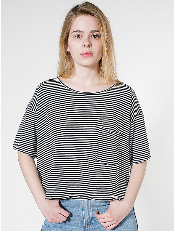Stripe Mid-Length Pocket Tee