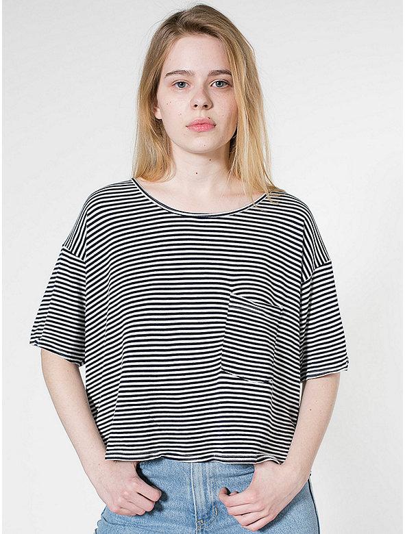 Stripe Mid-Length Pocket Tee