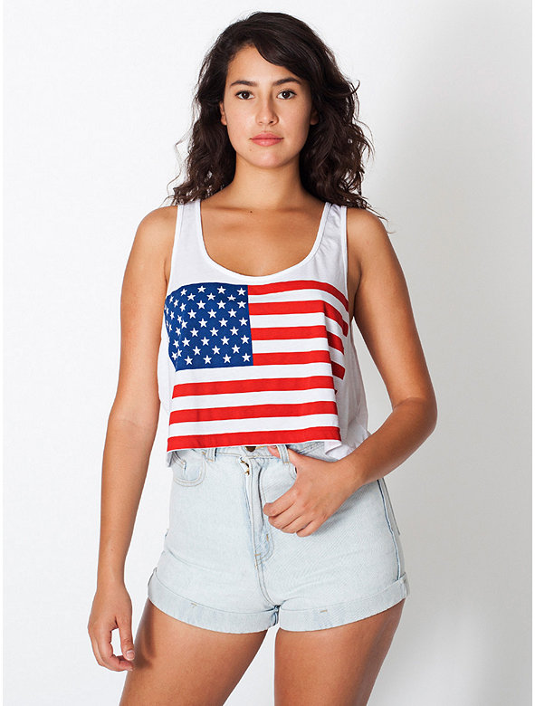 Printed Mid-Length Tank - US Flag