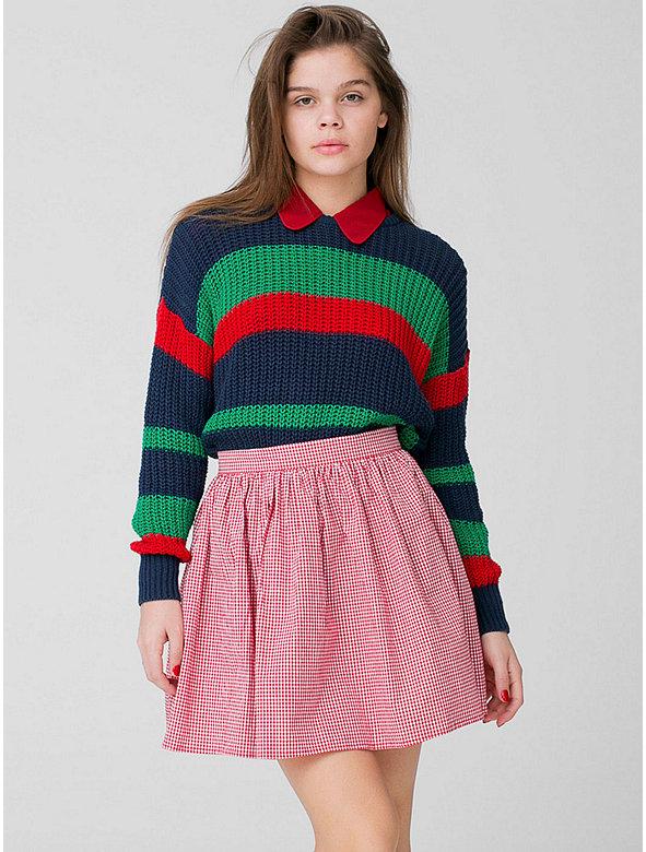 Gingham Full Woven Skirt