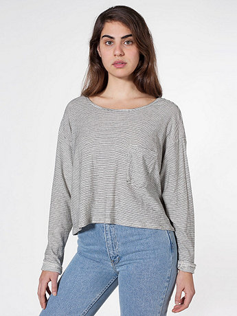 Striped Long Sleeve Pocket Tee