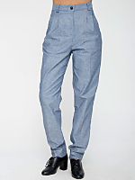 Chambray High-Waist Pleated Pant