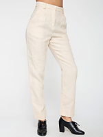 Linen High-Waist Pleated Pant