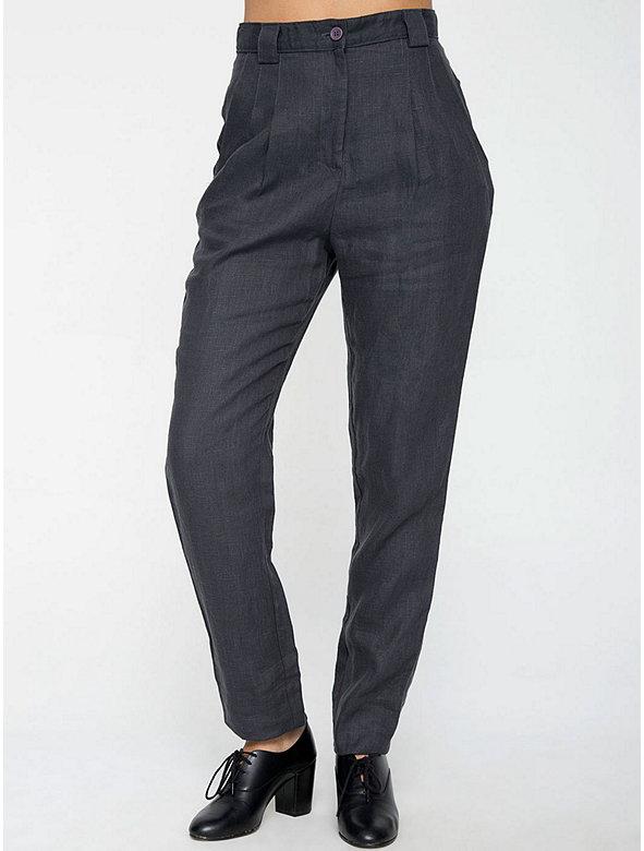 Linen High-Waist Pleated Pant