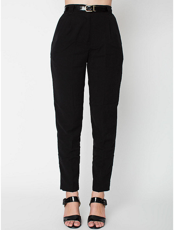 Micro-Poly High-Waist Pleated Pant