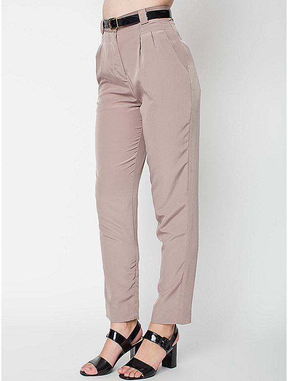 Micro-Poly High-Waist Pleated Pant