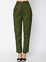 Calvary Twill High-Waist Pleated Pant