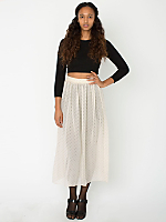 Polka Dot Chiffon Single-Layer Full Length Skirt