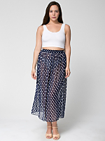 Polka Dot Chiffon Single-Layer Full Length Skirt