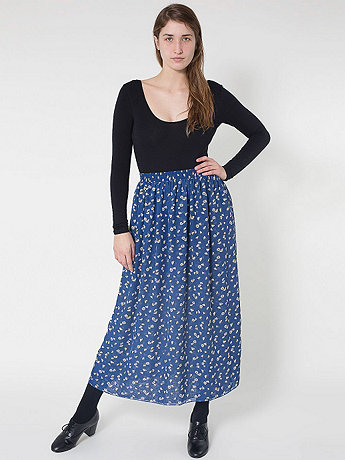 Floral Double-Layered Full Length Skirt