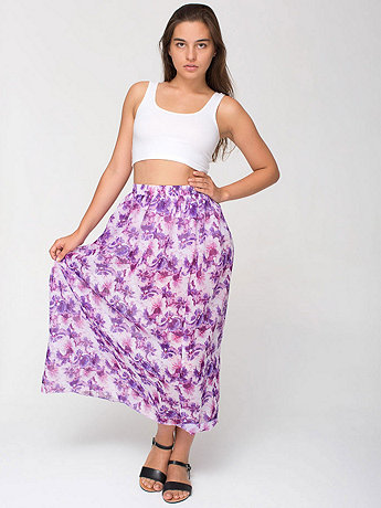 Floral Chiffon Single-Layer Full Length Skirt
