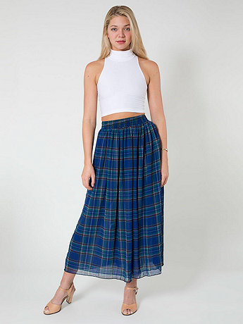 Plaid Double-Layered Full Length Skirt